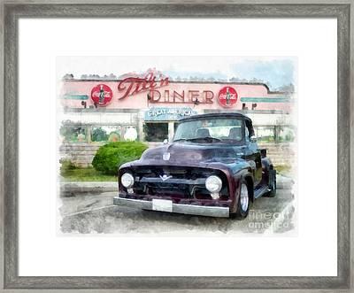 Vintage Ford Pickup At The Diner Framed Print by Edward Fielding