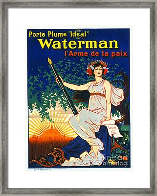 Vintage French Fountain Pen Advertisement 1919 Framed Print by Padre Art