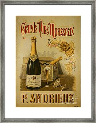 Vintage French Poster Andrieux Wine Framed Print by Olivier Le Queinec