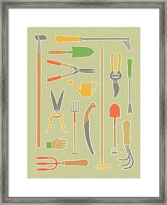 Vintage Garden Tools Framed Print by Mitch Frey