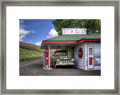 Vintage Gas Station - Chevy Pick-up Framed Print by Nikolyn McDonald
