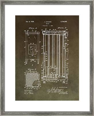 Vintage Heater Patent Framed Print by Dan Sproul