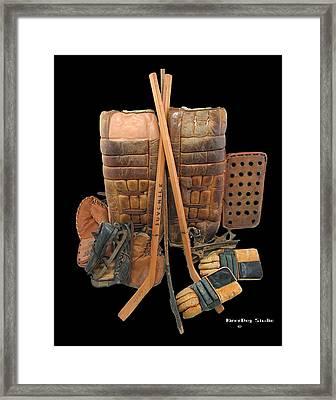 Vintage Hockey Equipment #2 Framed Print by Spencer Hall