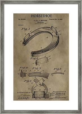 Vintage Horseshoe Patent Framed Print by Dan Sproul