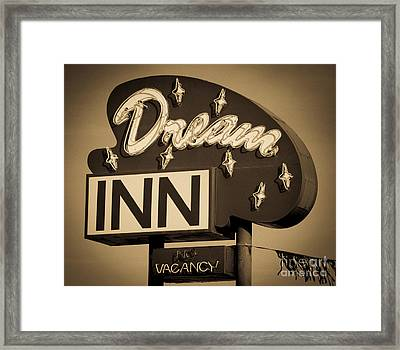 Vintage Hotel - Motel Sign Framed Print by Gary Whitton
