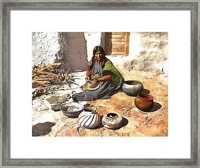 Mokie Indian Potter  Framed Print by Vintage Image Collection