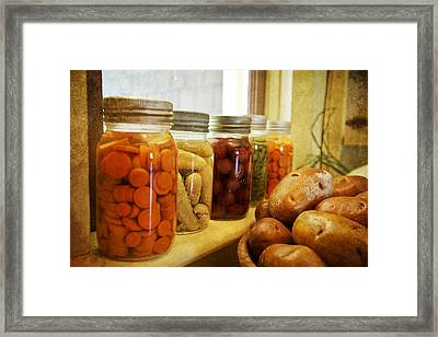 Vintage Jars On A Kitchen Window Framed Print by Eti Reid
