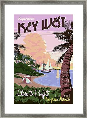 Vintage Key West Travel Poster Framed Print by Jon Neidert