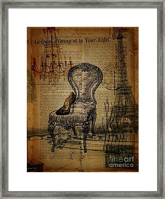 Vintage Lace Stiletto Rococo Chair Chandelier Paris Eiffel Tower Framed Print by Cranberry Sky