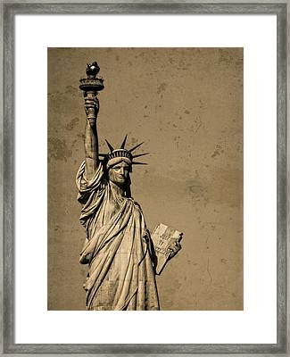 Vintage Lady Liberty Framed Print by Dan Sproul