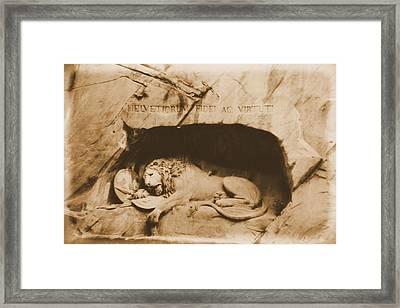 Vintage Lion Of Lucerne Framed Print by Dan Sproul