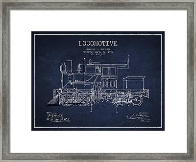 Vintage Locomotive Patent From 1892 Framed Print by Aged Pixel