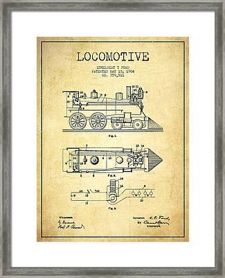 Vintage Locomotive Patent From 1904 - Vintage Framed Print by Aged Pixel