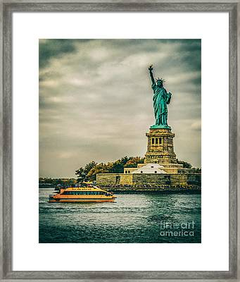 Vintage Look Of The Statue Of Liberty - Liberty Island Hudson River New York City Framed Print by Silvio Ligutti
