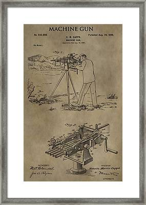 Vintage Machine Gun Patent Framed Print by Dan Sproul