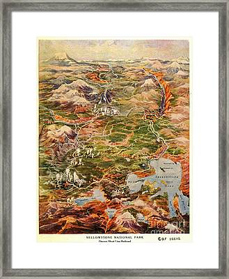 Vintage Map Of Yellowstone National Park Framed Print by Edward Fielding