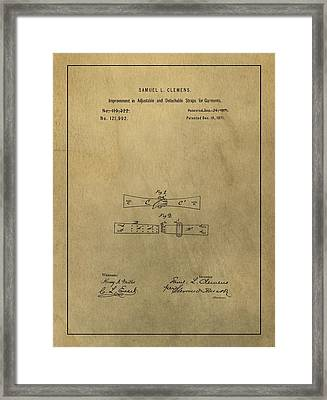 Vintage Mark Twain Patent Framed Print by Dan Sproul