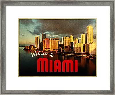 Vintage Miami Florida Skyline Framed Print by Flo Karp