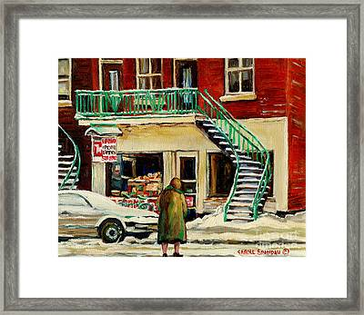 Vintage Montreal Art Verdun Depanneur Winter Scene Paintings Staircases And 7up Signs Carole Spandau Framed Print by Carole Spandau