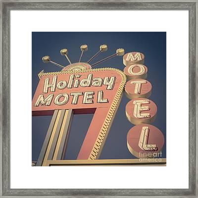 Vintage Motel Sign Square Framed Print by Edward Fielding