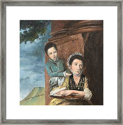 Vintage Mother And Son Framed Print by Mary Ellen Anderson