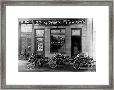 Vintage Motorcycle Dealership Framed Print by Jon Neidert