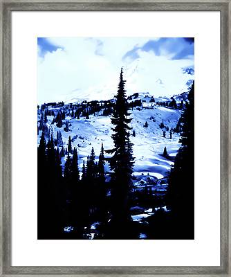 Vintage Mount Rainier With Camp Grounds In The Distance Early 1900 Era... Framed Print by Eddie Eastwood