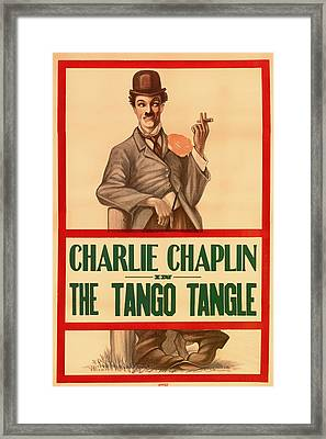Vintage Movie Poster - Charlie Chaplin In The Tango Tangle 1914 Framed Print by Mountain Dreams