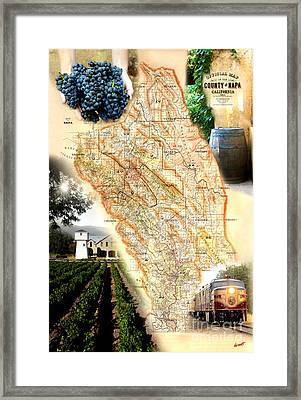 Vintage Napa Valley Map Framed Print by Jon Neidert