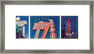 Vintage Neon Signs Trio Framed Print by Edward Fielding