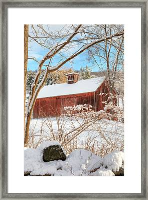 Vintage New England Barn Portrait Framed Print by Bill  Wakeley