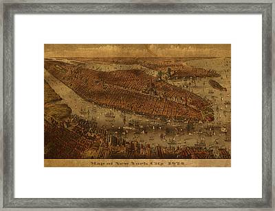 Vintage New York City Manhattan Nyc In 1875 City Map On Worn Canvas Framed Print by Design Turnpike