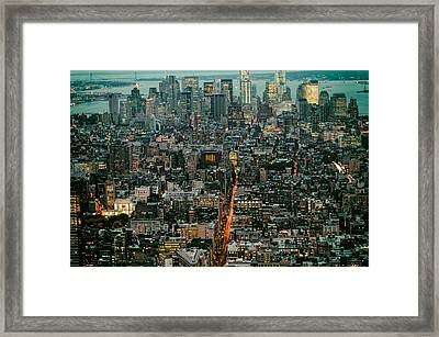 Vintage New York Skyline Framed Print by Silvio Ligutti