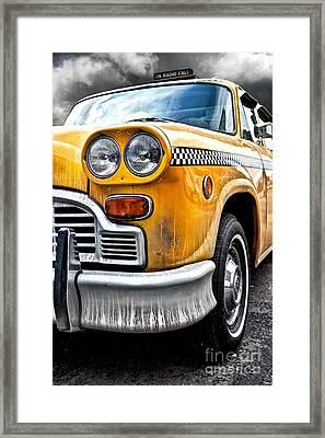 Vintage Nyc Taxi Framed Print by John Farnan