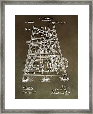 Vintage Oil Well Rig Patent Framed Print by Dan Sproul