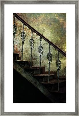 Vintage Ornamented Stairs And Dirty Wall Framed Print by Jaroslaw Blaminsky