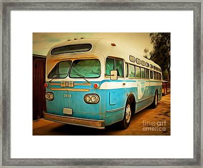 Vintage Passenger Bus 5d28394brun Framed Print by Wingsdomain Art and Photography