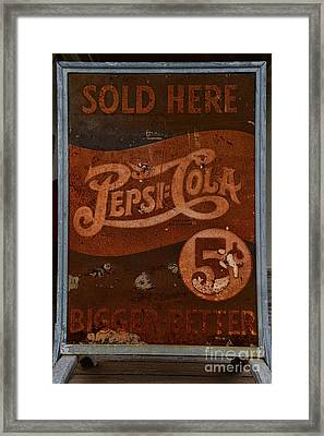 Vintage Pepsi Sign Framed Print by Paul Ward