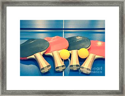 Vintage Ping-pong Bats Table Tennis Paddles Rackets Framed Print by Beverly Claire Kaiya