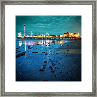 Vintage Pleasure Pier - Gulf Coast Galveston Texas Framed Print by Silvio Ligutti