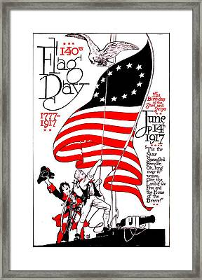 Vintage Poster - America - Flag Day 1917 Framed Print by Benjamin Yeager