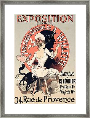 Vintage Poster Advertising An Art Exhibition Framed Print by Jules Cheret