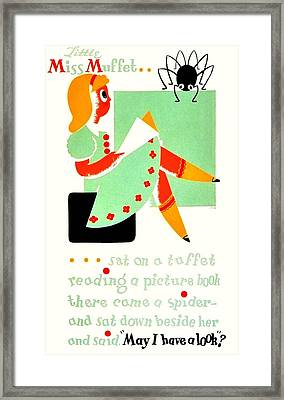 Vintage Poster - Reading - Miss Muffet Framed Print by Benjamin Yeager
