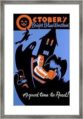 Vintage Poster - Reading - October Framed Print by Benjamin Yeager