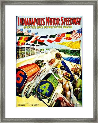 Vintage Poster - Sports - Indy 500 Framed Print by Benjamin Yeager