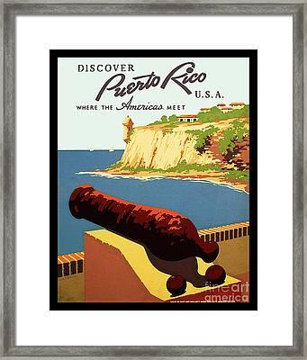 Vintage Puerto Rico Travel Poster Framed Print by Jon Neidert