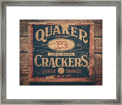 Vintage Quaker Crackers For The Kitchen Framed Print by Lisa Russo