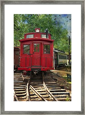 Vintage Red Train Framed Print by Juli Scalzi