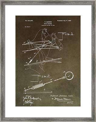 Vintage Rein Holder Patent Framed Print by Dan Sproul