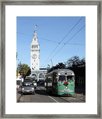 Vintage San Francisco Street Car At The Ferry Building On The Embarcadero - 5d20749 Framed Print by Wingsdomain Art and Photography